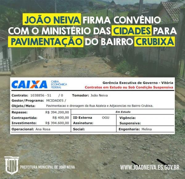 João Neiva - Prefeitura conclui  Projeto de  infraestrutura do Bairro Crubixa