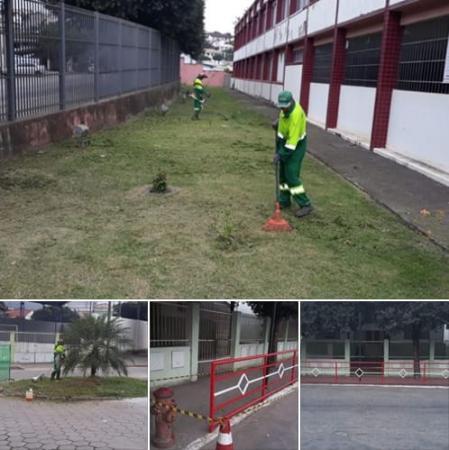 João Neiva - Prefeitura realiza limpeza em escolas e locais de votação
