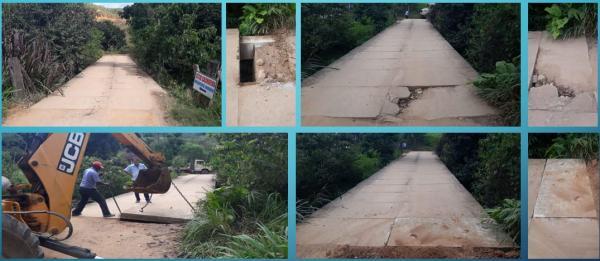 Joao Neiva - Prefeitura realiza reparo em Ponte na localidade de Mundo Novo .